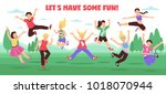 jumping people horizontal... | Shutterstock .eps vector #1018070944