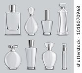 perfume glass bottles various... | Shutterstock .eps vector #1018070968