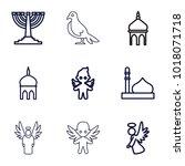 religious icons. set of 9...   Shutterstock .eps vector #1018071718