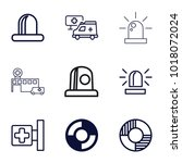 rescue icons. set of 9 editable ... | Shutterstock .eps vector #1018072024
