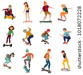 rollers and skateboarders... | Shutterstock .eps vector #1018072228