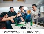 group of friends watching sport ... | Shutterstock . vector #1018072498