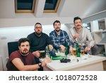 group of friends watching sport ... | Shutterstock . vector #1018072528