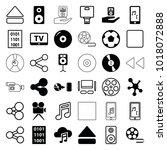 multimedia icons. set of 36... | Shutterstock .eps vector #1018072888