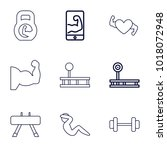 muscle icons. set of 9 editable ... | Shutterstock .eps vector #1018072948