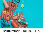 accessories for sewing in... | Shutterstock . vector #1018073116