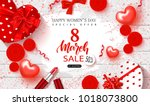 8 march happy women's day sale... | Shutterstock .eps vector #1018073800
