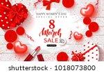 8 march happy women's day sale... | Shutterstock .eps vector #1018073800