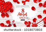 8 march happy women's day sale... | Shutterstock .eps vector #1018073803
