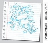 hand breaking through brick wall | Shutterstock .eps vector #1018073974
