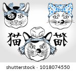 traditional japanese cats in... | Shutterstock .eps vector #1018074550