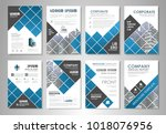 blue presentation template set... | Shutterstock .eps vector #1018076956