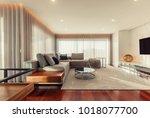 modern living room interior  | Shutterstock . vector #1018077700