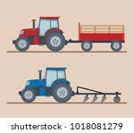 two farm tractors isolated on... | Shutterstock .eps vector #1018081279