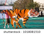 a tiger shaped kite at...   Shutterstock . vector #1018081510
