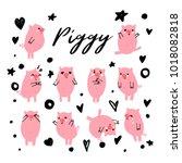 cute piggy wiggy. vector... | Shutterstock .eps vector #1018082818