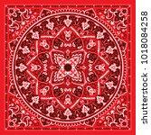 vector ornament paisley bandana ... | Shutterstock .eps vector #1018084258