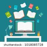 online learning concept  modern ...   Shutterstock .eps vector #1018085728