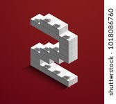 3d isometric white number two... | Shutterstock .eps vector #1018086760