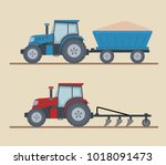 two farm tractors isolated on...   Shutterstock .eps vector #1018091473