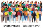group of casual people standing ... | Shutterstock .eps vector #1018094590