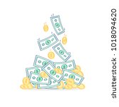 money pile of cash money and... | Shutterstock .eps vector #1018094620