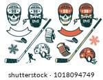 set of hockey elements in retro ... | Shutterstock .eps vector #1018094749