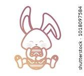 rabbit  with  easter  egg...   Shutterstock .eps vector #1018097584