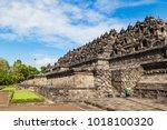 buddist temple borobudur...   Shutterstock . vector #1018100320