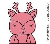 color adorable and happy deer... | Shutterstock .eps vector #1018100830