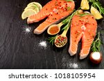 slice of red fish salmon with... | Shutterstock . vector #1018105954