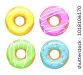donuts multicolored vector | Shutterstock .eps vector #1018106170