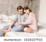 loving couple. handsome young... | Shutterstock . vector #1018107910