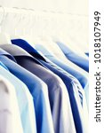blue color clothes. male... | Shutterstock . vector #1018107949