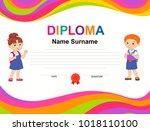kids diploma certificate...   Shutterstock .eps vector #1018110100