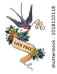 bird flies and carries ribbon...   Shutterstock .eps vector #1018110118