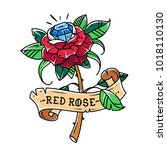 tattoo red rose with blue gem... | Shutterstock .eps vector #1018110130
