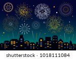 night city skyline with... | Shutterstock .eps vector #1018111084