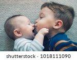 toddler baby boy kisses his... | Shutterstock . vector #1018111090
