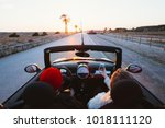 happy and excited young couple... | Shutterstock . vector #1018111120