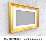 gold frame on conrete wall.... | Shutterstock . vector #1018111336