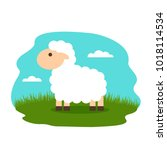 lovely lamb in the meadow. flat ... | Shutterstock .eps vector #1018114534
