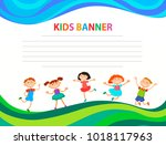 happy children run on the... | Shutterstock .eps vector #1018117963