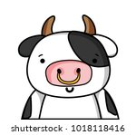 adorable and happy cow wild... | Shutterstock .eps vector #1018118416