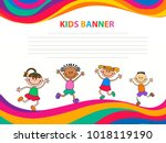 happy children run on the... | Shutterstock .eps vector #1018119190