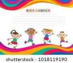 happy children run on the... | Shutterstock .eps vector #1018119190