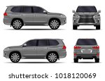 realistic suv car. front view ... | Shutterstock .eps vector #1018120069