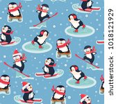 seamless pattern with penguins. ... | Shutterstock .eps vector #1018121929