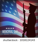 memorial day. greeting card... | Shutterstock .eps vector #1018124143