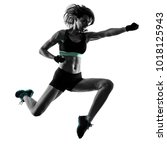 one caucasian woman exercising... | Shutterstock . vector #1018125943